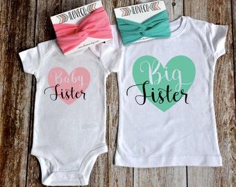 Big Sister Baby Sister Outfit  / Headbands Optional  / Big Sister Little Sister Set