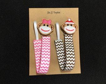 Twin Babies Sock Monkey Feltie Chevron Universal Pacifier Clip Set for Twin Baby Boys or Girls