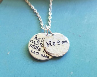 He Stole My Heart So I Stole His Last Name Custom Necklace