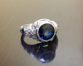 Art Deco 14K White Gold Sapphire Diamond Engagement Ring - 14K Gold Art Deco Sapphire Diamond Wedding Ring - Hand Engraved Sapphire Ring