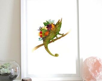 Chameleon Succulents Wall Art Illustration Garden Lizard Green Limited Edition Print