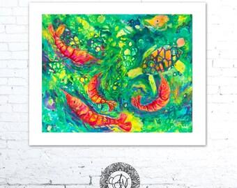 Shrimp Wall Art, Shrimp Art Print, Shrimp Painting, Coastal Art, Shrimp Decor, Beach House Decor, Coastal Wall Art, Coastal Creations