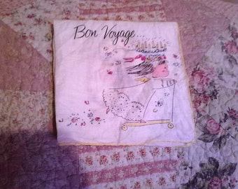 vintage birthday handkerchief ~ Angel hankie