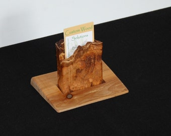 Cherry and Maple Wood Business or Other Card Holder and Display - Vertical - Desktop or Portable