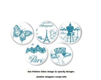 Teal Blue on White French Fashion Drawer Knobs - Butterfly, Lady, Hat, Dress Form, Paris, Eiffel Tower, Cabinet, Dresser, Pull - 115F13