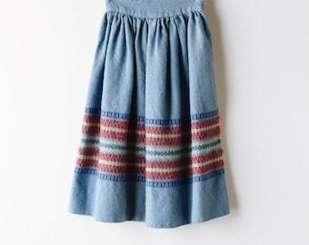 High Waisted Wool Skirt - Handwoven Boho Festival
