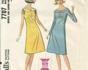 30% OFF SALE 1960s Misses' Flared Dress Vintage Women's Sewing Pattern McCalls 7707 Size 10 Bust 31 inches