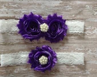 Bridal Garter Set- Shimmer Purple with pearls-wedding,bride,flower girl,bridesmaids