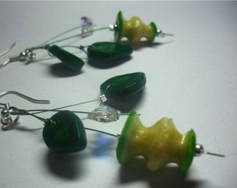 Earrings bitten apples green apples Apple slices Miniature Realistic  Long earrings with slices of green applesCute Funny Little Half