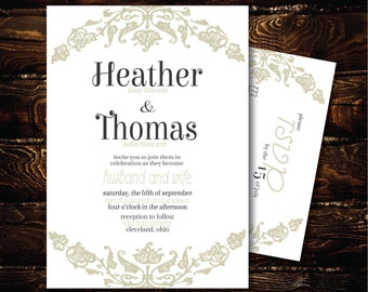 Printable Wedding Invitation and RSVP-Print Yourself-Digital File