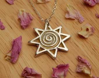 fine silver sunshine necklace  - PMC fine silver jewelry - precious metal clay jewelry - PMC - Birthday Gifts for Women