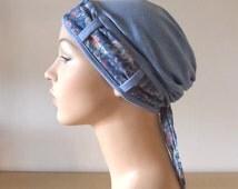 Stylish Cancer Hat - Blue Turban with Floral scarf, chemo headwear for woman experiencing hair loss. Cancer Headwear. Chemo hat.