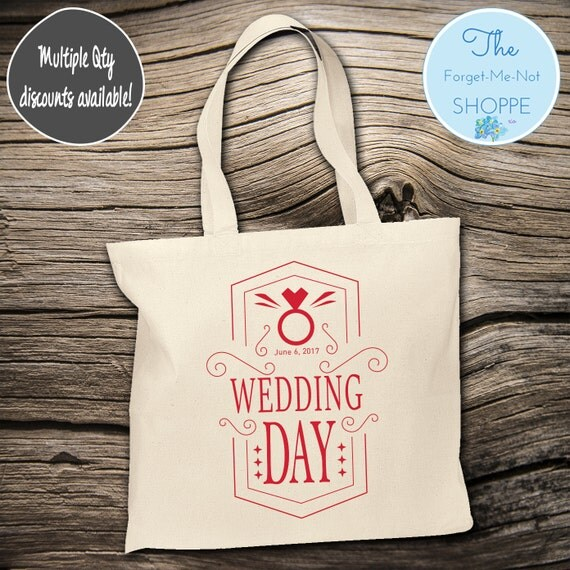 Wedding Day Canvas Tote Bags, Hawaii, Bachelorette Totes, Nautical Bachelorette, Wedding Favor Bags, Tropical, Married, Gifts, Favors