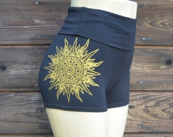 Fire and Ice Mandala Hot Shorts  - Yoga Shorts - Festival Shorts - High Waisted Shorts - Sacred Geometry Shorts - Women's Shorts