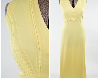 60s/70s Alfred Werber Butter Yellow Polyester Maxi Dress // V-Neck, Scalloped Details // Bold & Colorful, Pastel Fall Fashion Trend