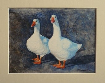 """Watercolour painting """"Two White Geese"""""""