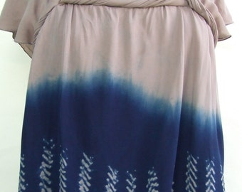 Silk bubble top, hand-dyed indigo, Japanese shibori, blue and coffee, upcycled, ombre dye, dip dye