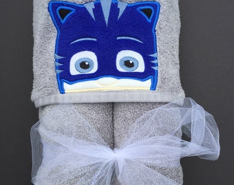 PJ  Mask  Inspired Hooded Towel.  Catboy  Bath towel, Owlette, Cover up beach towel, pool towel, play costume.