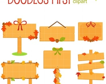 Autumn Wood Signs Clip Art for Scrapbooking Card Making Cupcake Toppers Paper Crafts