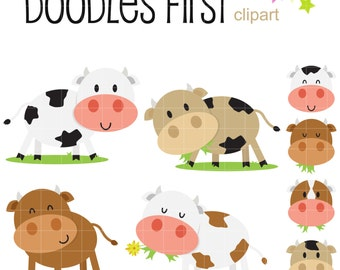 Cute Cows Clip Art for Scrapbooking Card Making Cupcake Toppers Paper Crafts