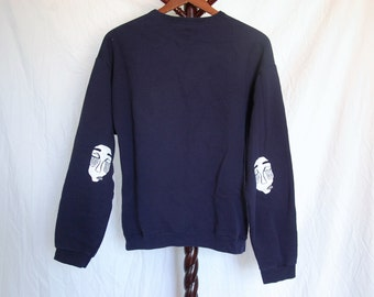 "Thrifted Hanes Brand Sweatshirt // Original ""No Face"" Screen Print Design on Elbows in White Ink // Size Medium // Navy Blue"
