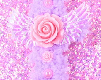 Lavender cross two way clip-fuzzy two way clip-baby yarn-sweet lolita-fairy kei-milky cross-cabochons