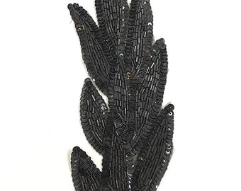"Black Leaf Applique , All Beads, 9"" x 3""  8833-0679"