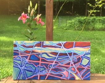 36 in x 18 in Original Oil Abstract Landscape: Mercury