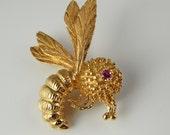 RESERVED Bee Brooch Bee Jewelry Ruby Brooch 14K Gold Brooch Retro Brooch Mid Century Brooch Mid Century Jewelry Insect Jewelry Fine
