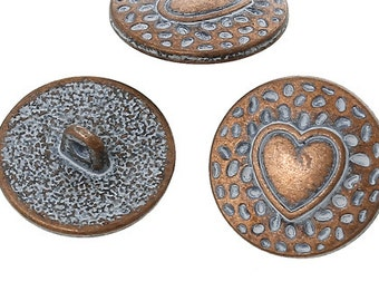 Zinc Metal Alloy Shank Button Metal Buttons Round Antique Copper Single Hole Heart Pattern - Pack of 6