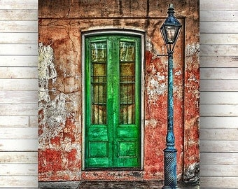 New Orleans Art BEHIND GREEN DOOR French Quarter Doors Architecture Door Photography Gas Lampost Shutters Green Door Nola Brick Stoop