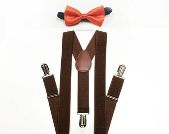 toddlers outfit, boys suspenders, orange bowtie, brown suspenders, toddler suspenders, boy suspenders, boys suspenders, brown suspenders set