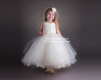 Ivory Lace Tutu Dress, Lace Tutu Dress, Ivory Flower Girl Dress, Couture Flower Girl Dress, Ivory Couture Flower Girl Dress, Lace Tutu Dress