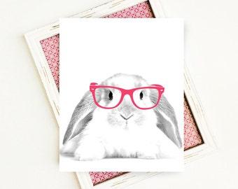Woodland Nursery, Rabbit, Bunny, Rabbit with Glasses, Woodland Animals, Nursery Decor, Glasses, Wall Art, 8x10, PRINTABLE, Digital Download