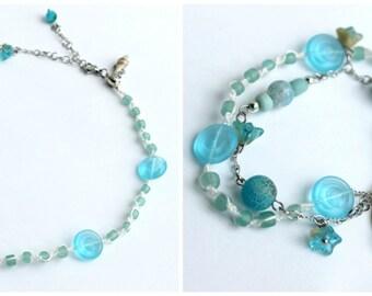 """Bracelet transformable en collier, """"Tortue de mer """"aux couleurs aquatiques"""