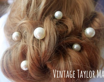 Wedding hair pin white pearl vintage decorative pair bridal accessory