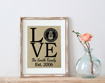 LOVE Burlap Air Force Print, Airforce Family, Airforce Wall Decor, White Walls, Air Force Retirement Gift, Gift for Airman,  Airforce Gifts