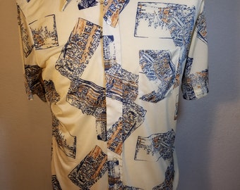 FREE  SHIPPING  Vintage 1970's Men's Retro Disco Shirt