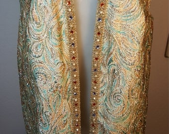 FREE  SHIPPING   Vintage Metallic Beaded Vest