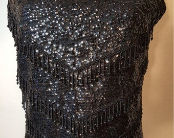 FREE  SHIPPING  Vintage 1950 Sequin Bead Sweater