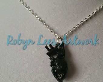 Black Anatomical Human Heart Necklace on Silver Crossed Chain