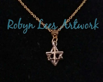 3D Gold Star of David Cage Necklace on Gold Bail and Crossed Chain