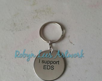 I Support EDS Ehlers-Danlos Charity Donation Engraved Stainless Steel Disc Keyring on Silver Split Ring, Hypermobility