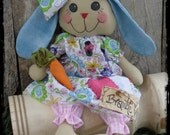 Adorable Bunny Rabbit Rag Doll, Primitive Bunnie, Birthday Gift, Baby Girl Nursery, Easter Spring Decor, OFG FAAP