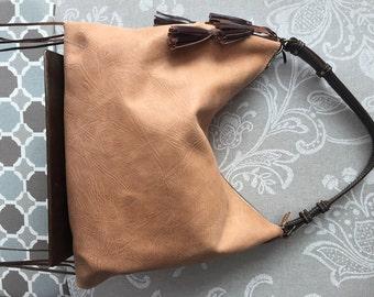 Brown leather hobo bag, Leather purse, Tan leather bag, leather bag
