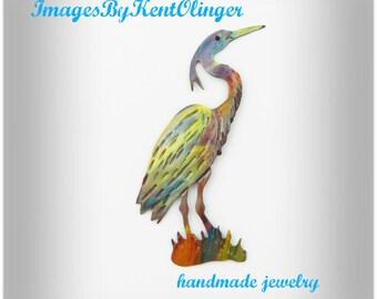 Handmade Blue Heron brooch, torched copper heron pin, flame painted heron, west coast art, blue heron jewelry, wetlands, pacific northwest