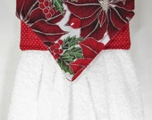 Holiday Hanging Hand Towel, Poinsettia Hanging Kitchen Towel, Christmas Kitchen Hanging Towel, Xmas Hand Towel, Holiday Kitchen Decor