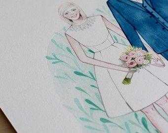 Custom couple portrait watercolour