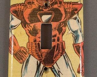Comic book decoupage light switch cover Iron Man
