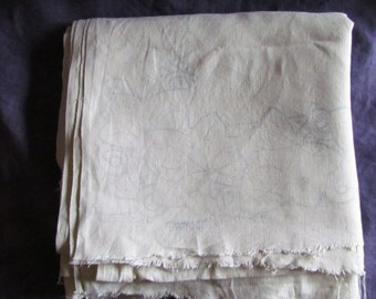 Linen Tablecloth with Blueprint for Needlecraft